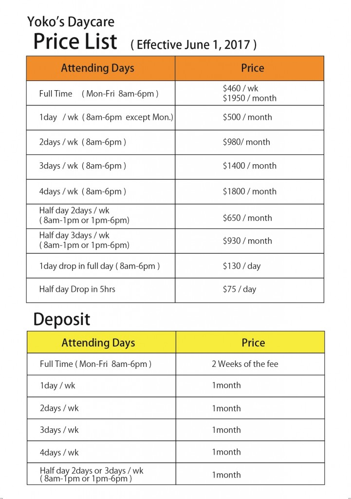 price list June2017